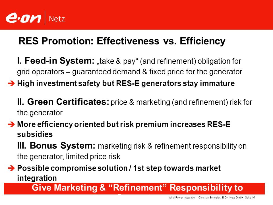 Give Marketing & Refinement Responsibility to Generators