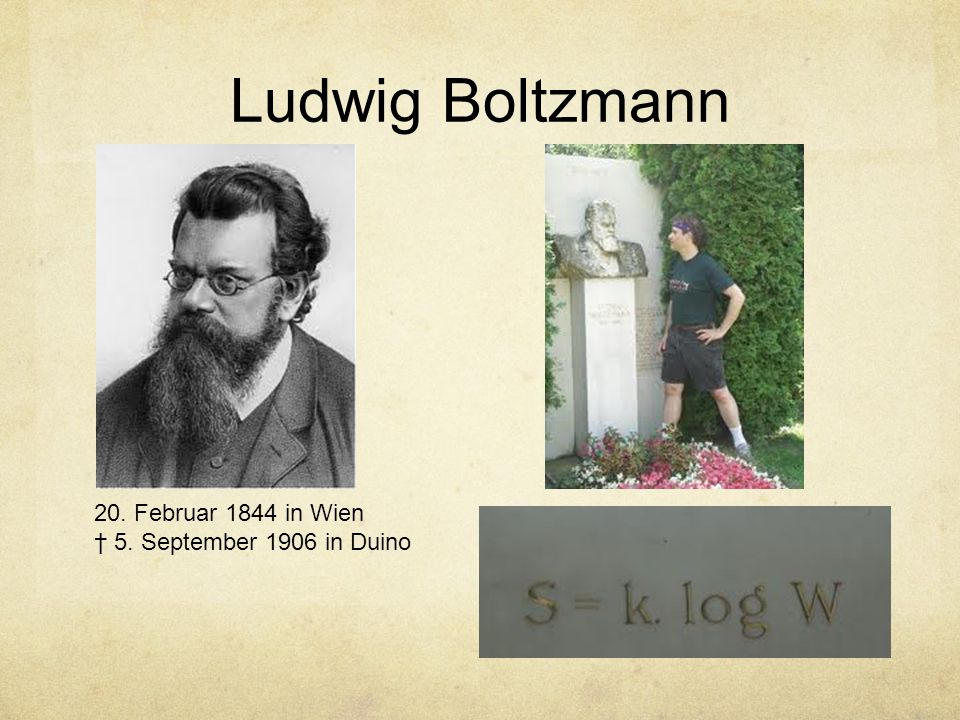 Ludwig Boltzmann 20. Februar 1844 in Wien † 5. September 1906 in Duino