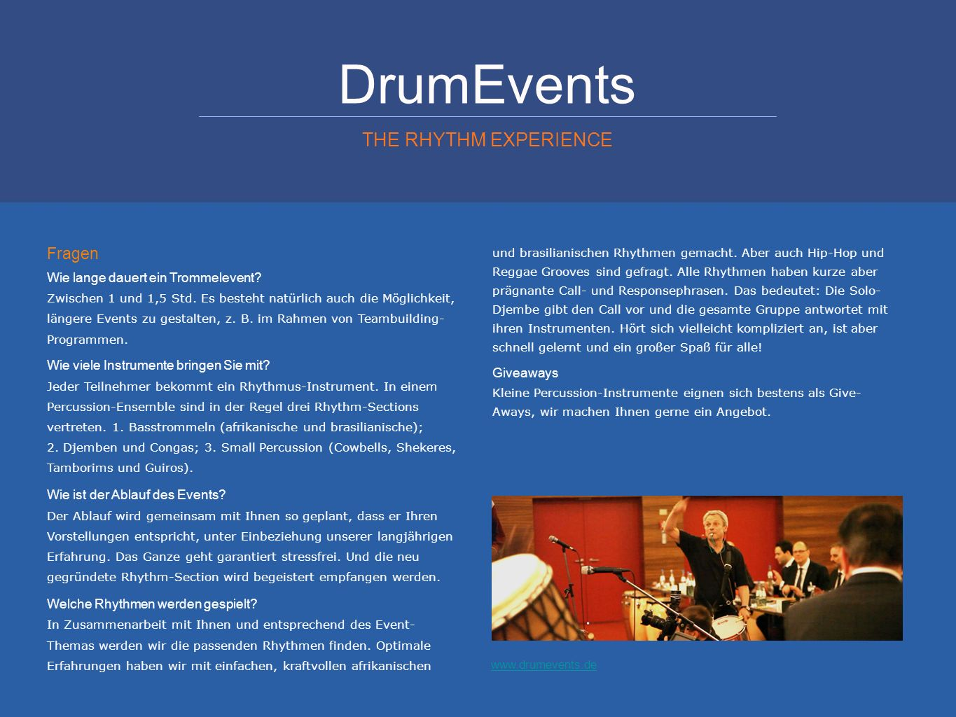 DrumEvents THE RHYTHM EXPERIENCE Fragen