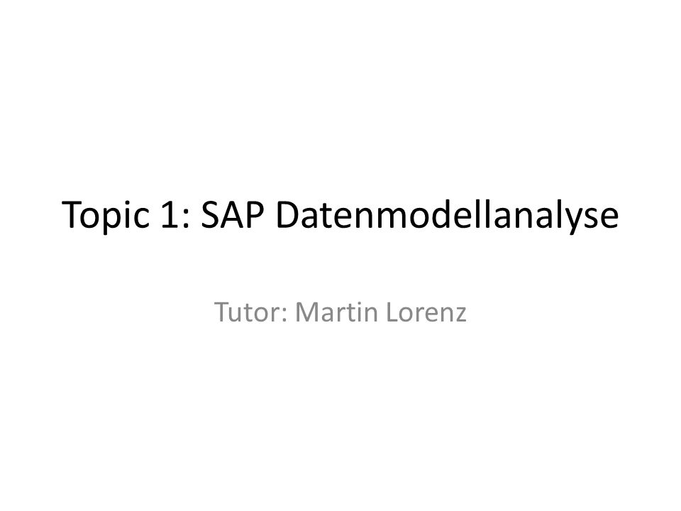 Topic 1: SAP Datenmodellanalyse