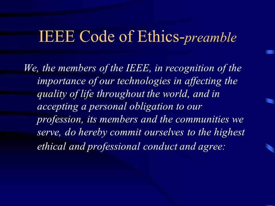 IEEE Code of Ethics-preamble