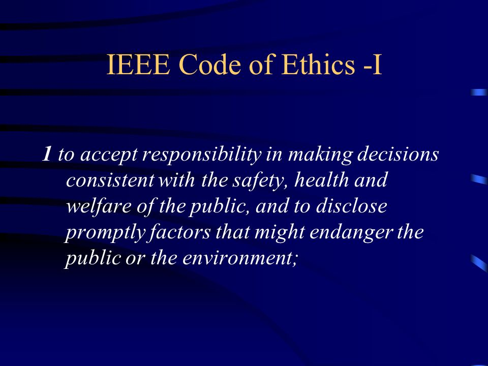 IEEE Code of Ethics -I
