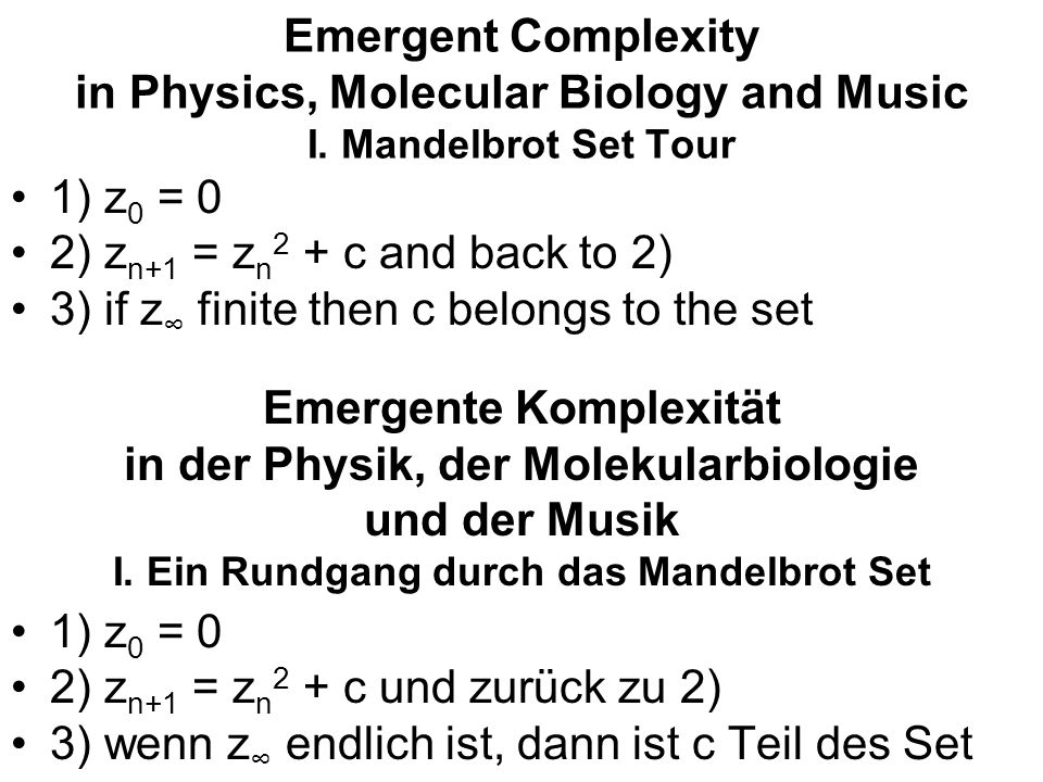 Emergent Complexity in Physics, Molecular Biology and Music I