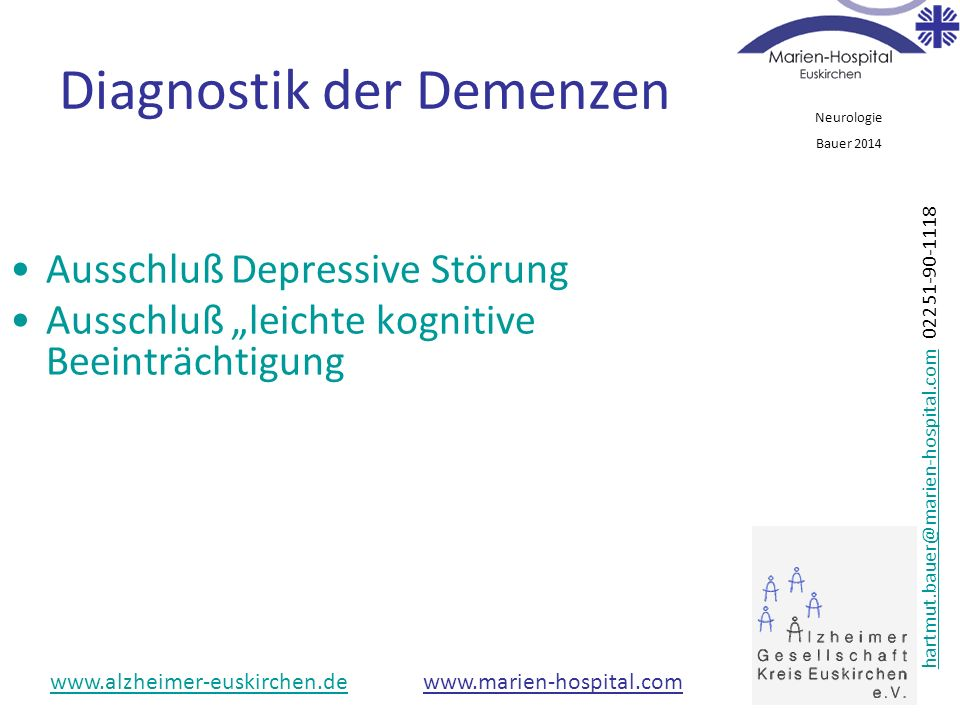 Diagnostik der Demenzen