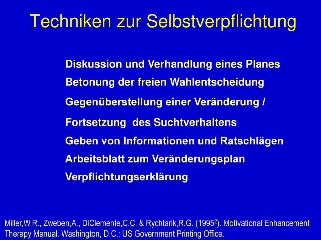 Motivation und Volition in der Suchtbehandlung Dipl. -Psych. Dr ...