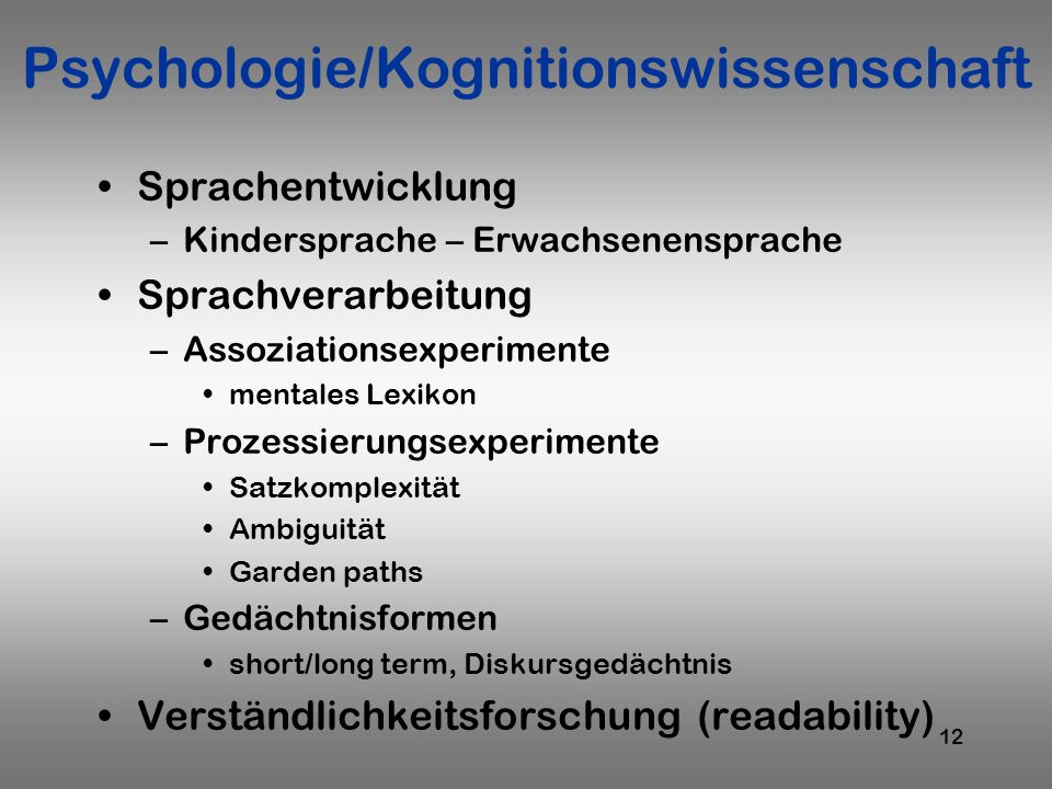 Psychologie/Kognitionswissenschaft