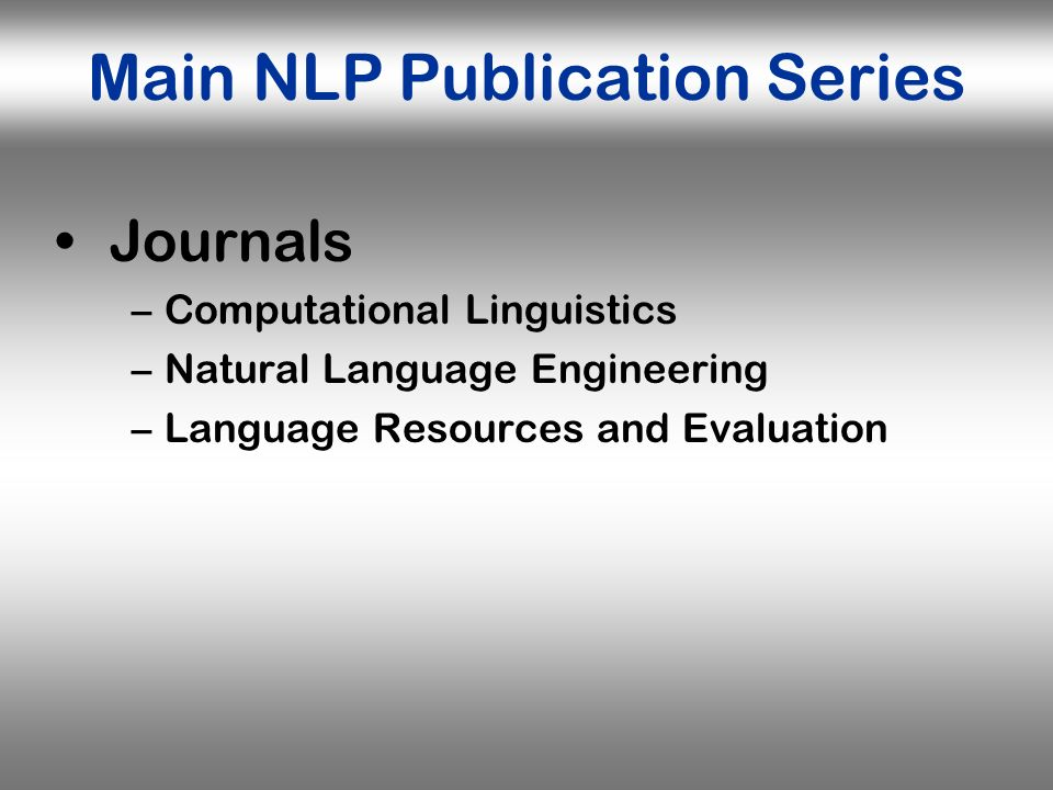 Main NLP Publication Series