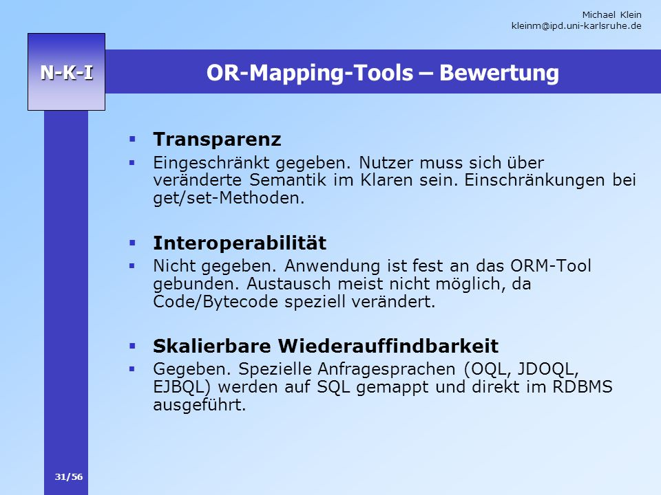 OR-Mapping-Tools – Bewertung
