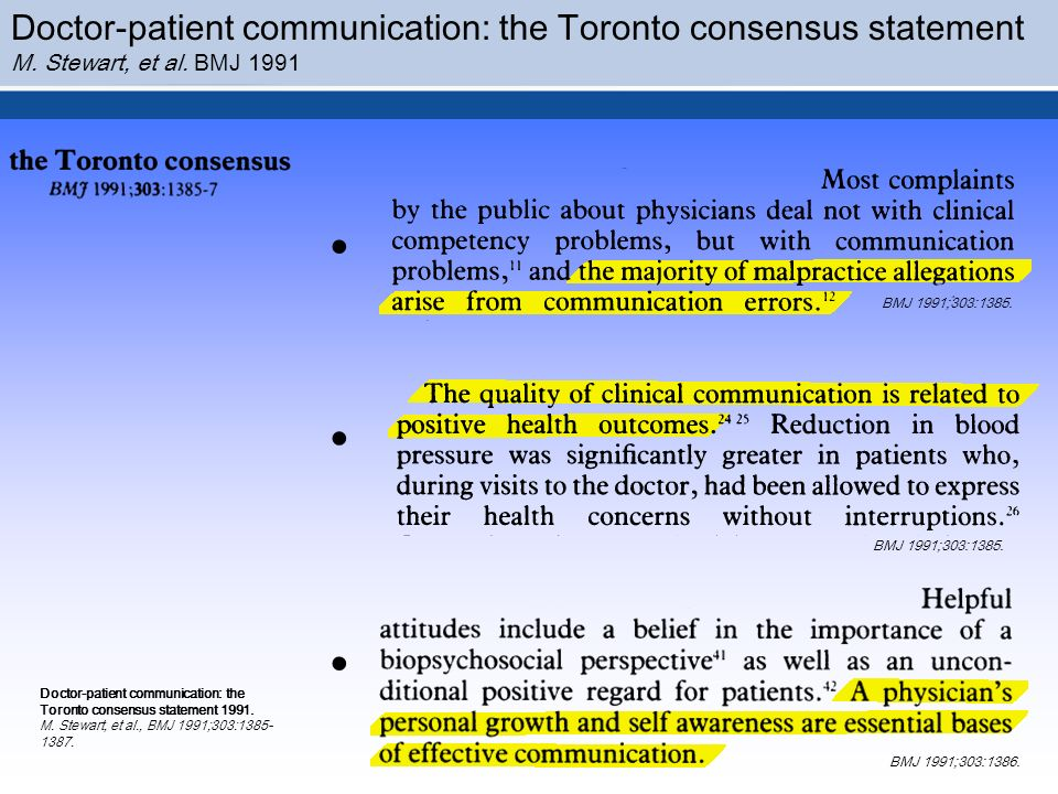 . . . Doctor-patient communication: the Toronto consensus statement