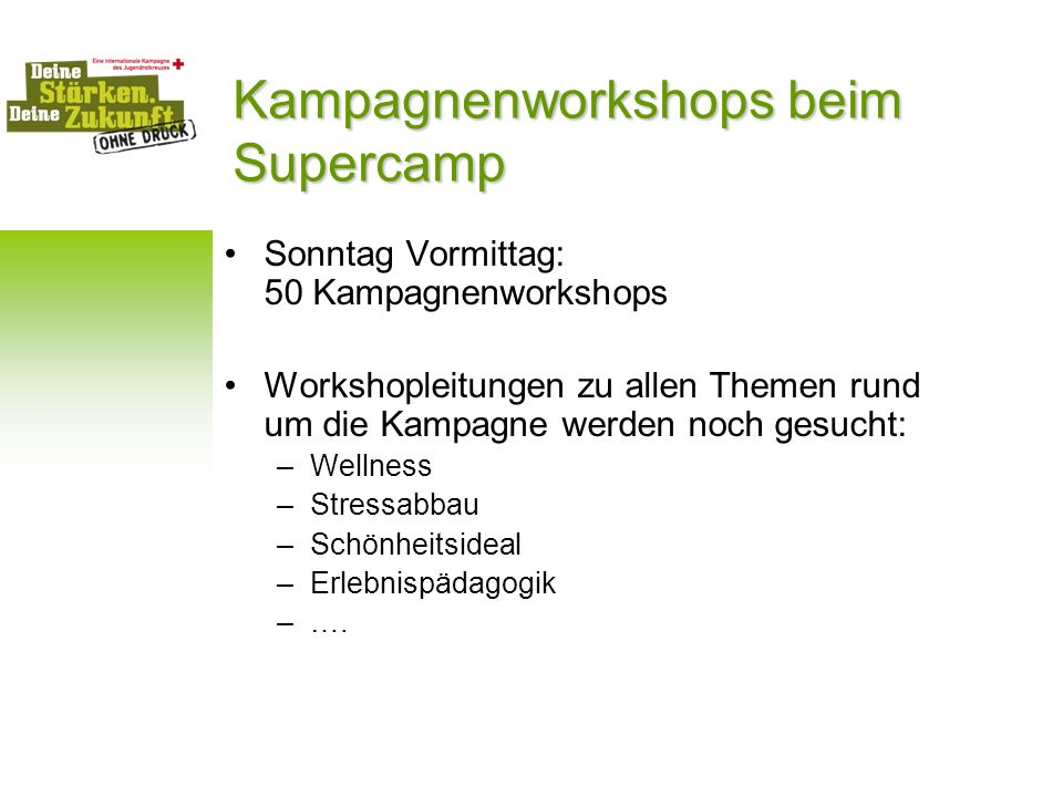 Kampagnenworkshops beim Supercamp