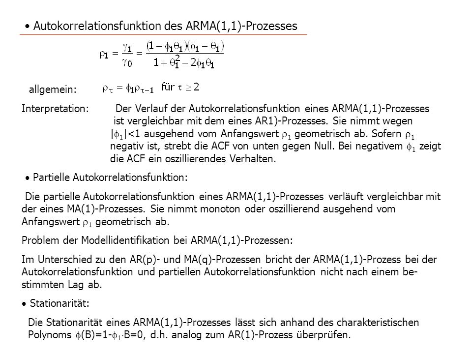 Autokorrelationsfunktion des ARMA(1,1)-Prozesses