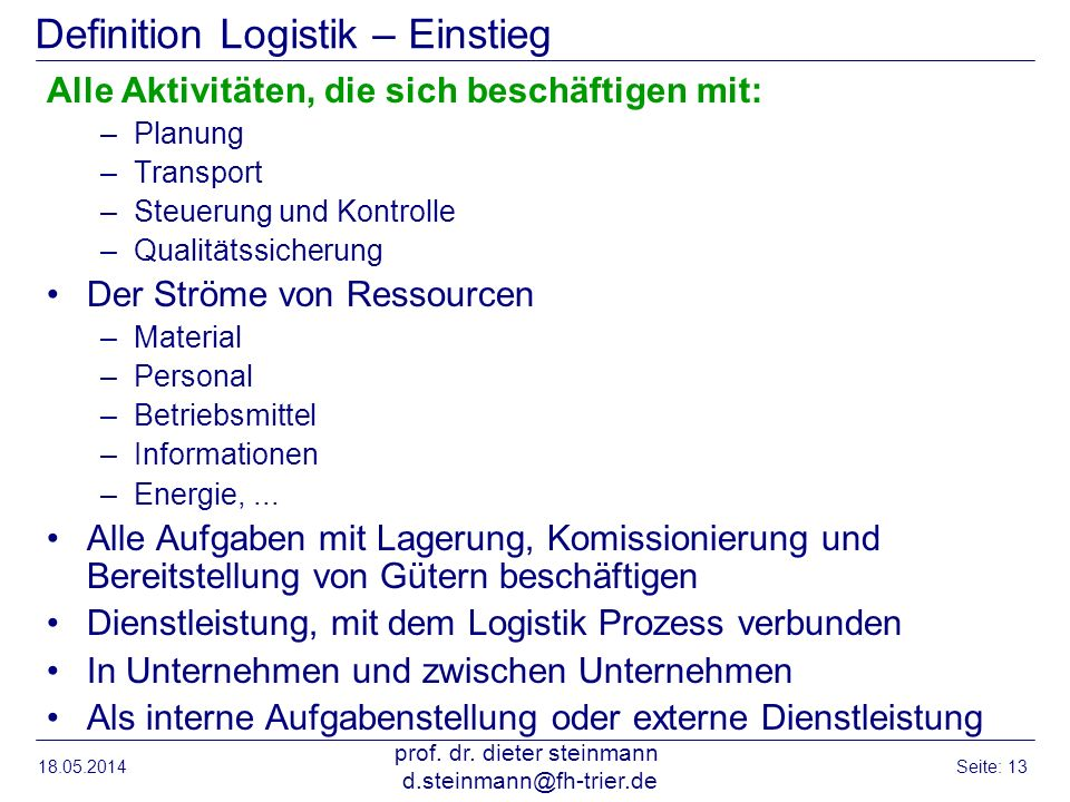 Definition Logistik – Einstieg