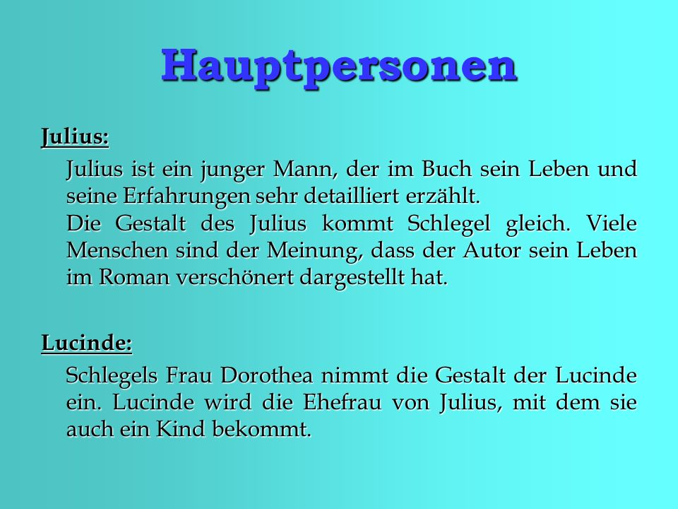 Hauptpersonen Julius: