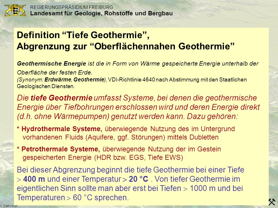 Definition Tiefe Geothermie ,