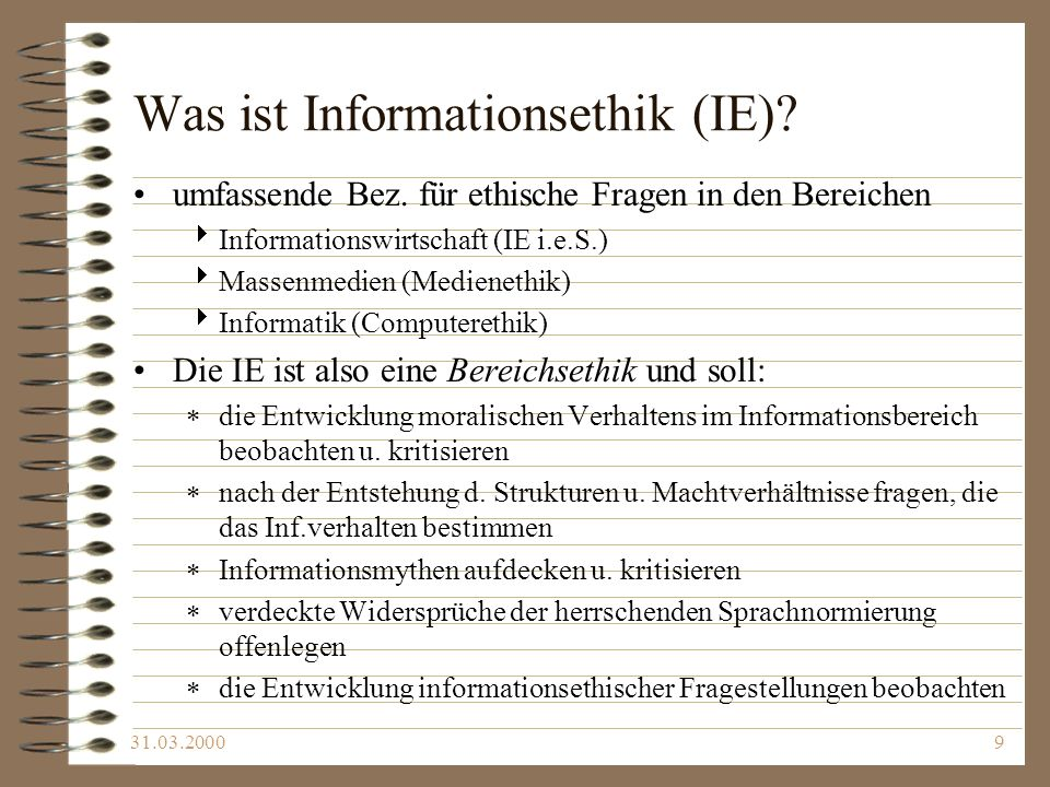 Was ist Informationsethik (IE)