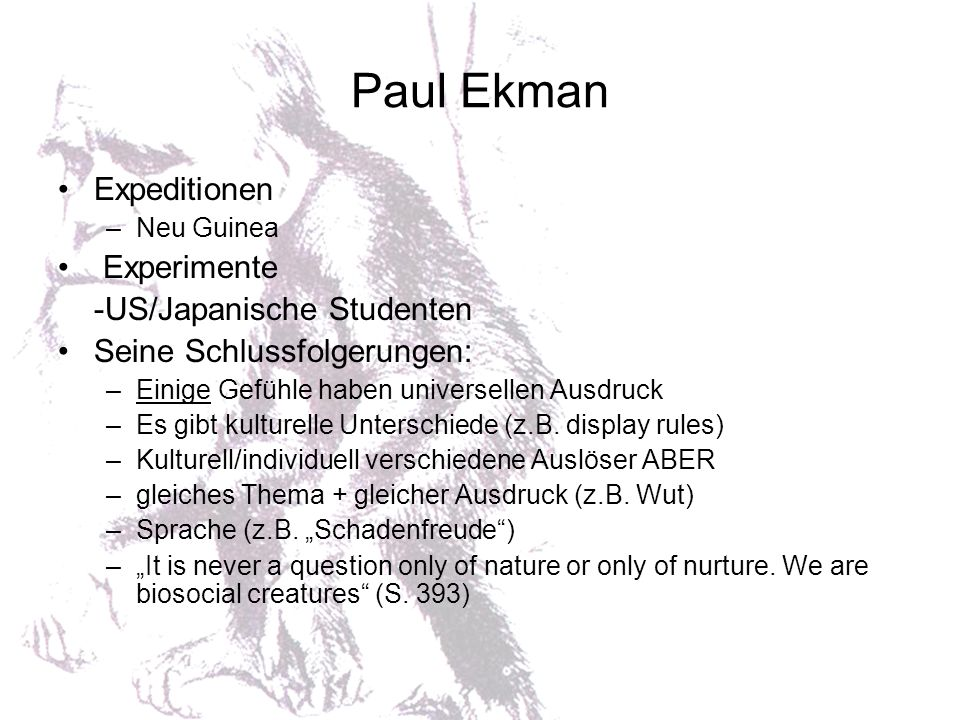 Paul Ekman Expeditionen Experimente -US/Japanische Studenten