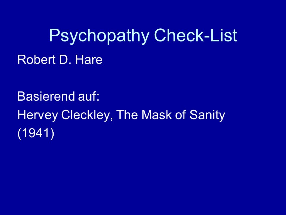 Psychopathy Check-List