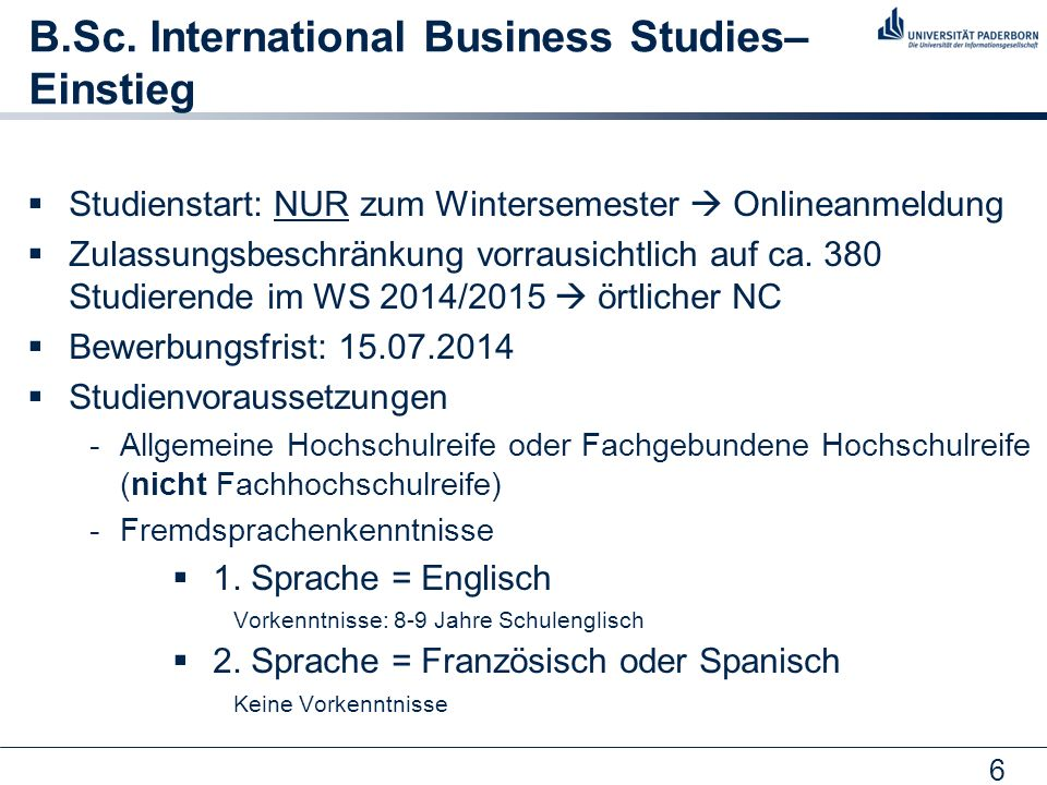 B.Sc. International Business Studies– Einstieg