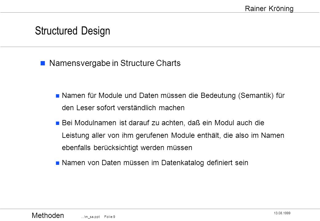 Structured Design Namensvergabe in Structure Charts