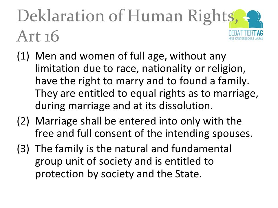 Deklaration of Human Rights, Art 16