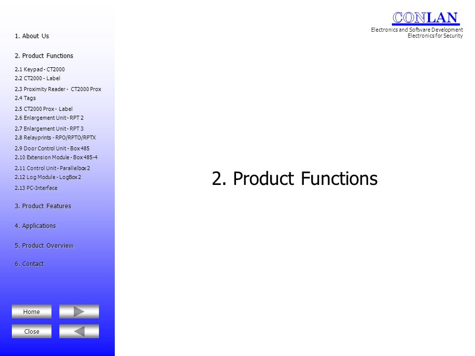 2. Product Functions 1. About Us 2. Product Functions