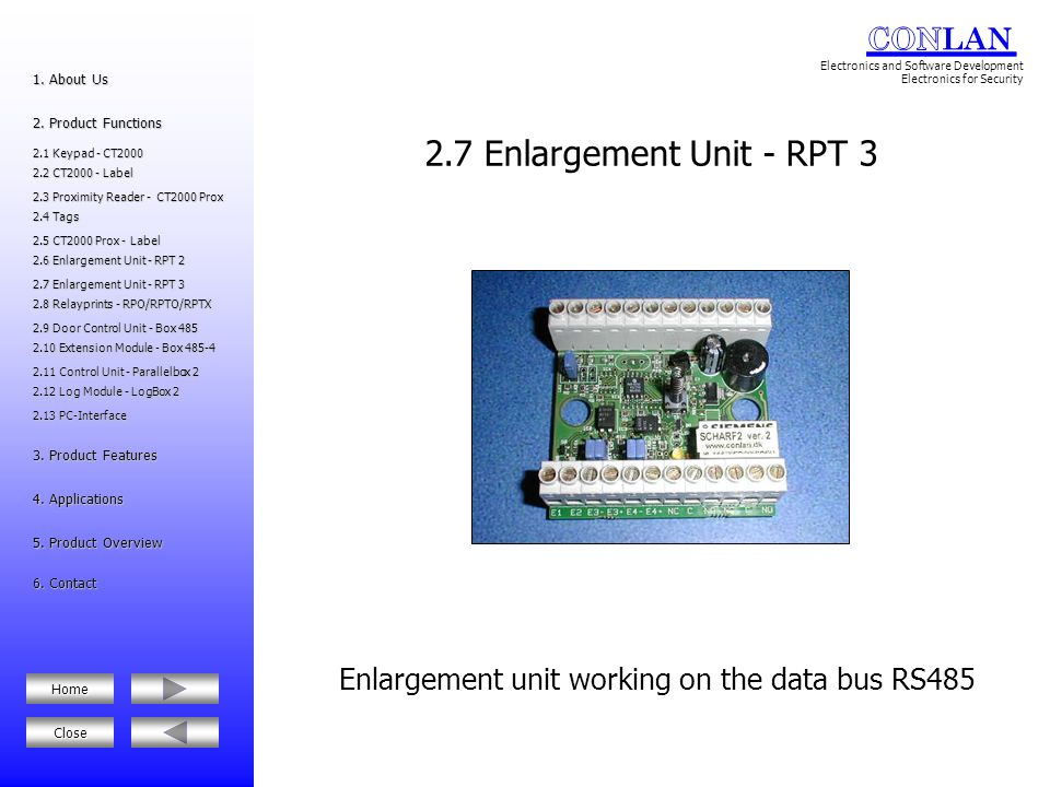 Enlargement unit working on the data bus RS485