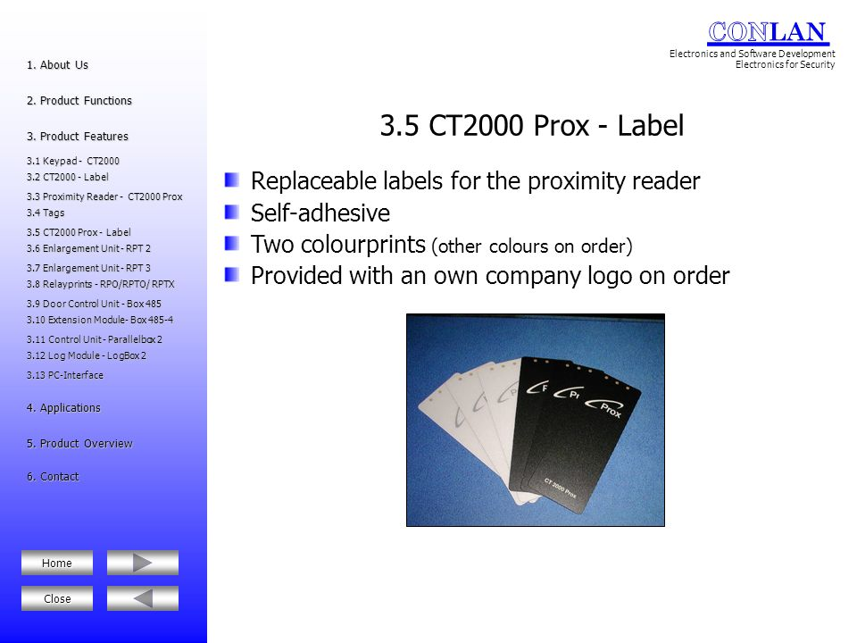 3.5 CT2000 Prox - Label Replaceable labels for the proximity reader