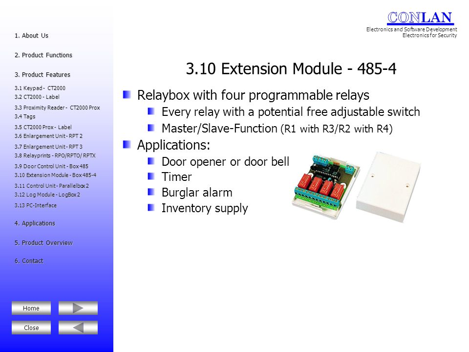 3.10 Extension Module - 485-4 Relaybox with four programmable relays