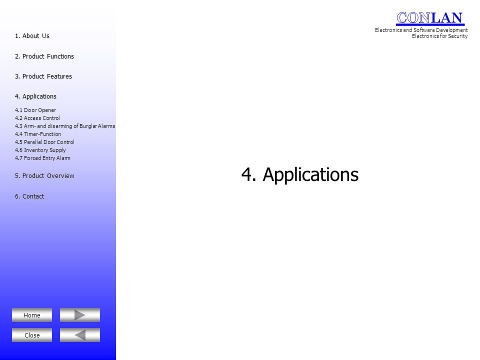 4. Applications 1. About Us 2. Product Functions 3. Product Features