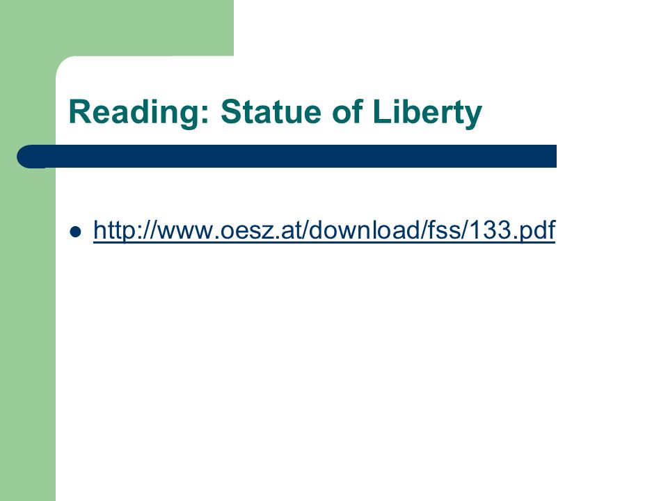 Reading: Statue of Liberty