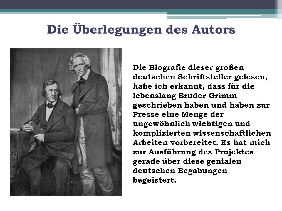 4 die berlegungen des autors - Gebrder Grimm Lebenslauf