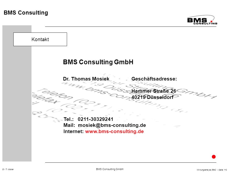 BMS Consulting GmbH BMS Consulting Kontakt Dr. Thomas Mosiek
