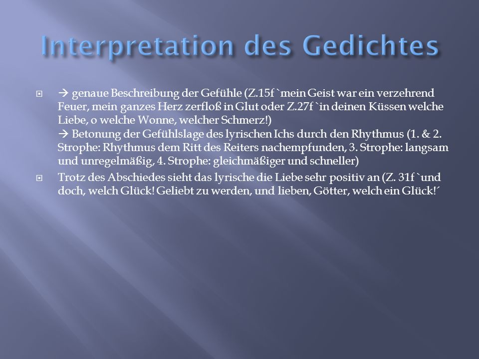 Interpretation des Gedichtes
