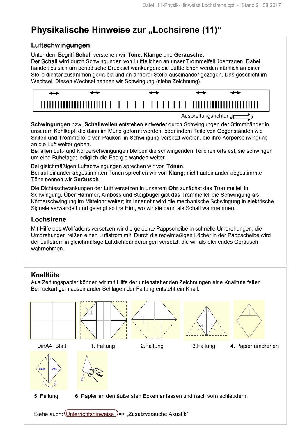 Datei: 11-Physik-Hinweise Lochsirene.ppt - Stand - ppt herunterladen