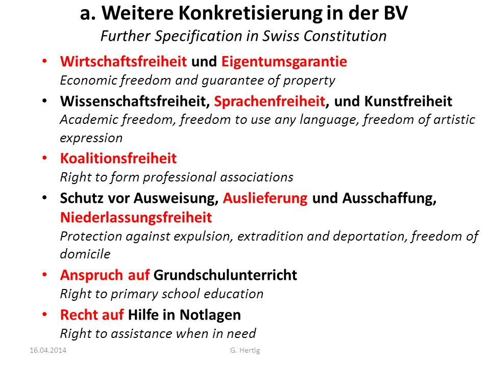 a. Weitere Konkretisierung in der BV Further Specification in Swiss Constitution