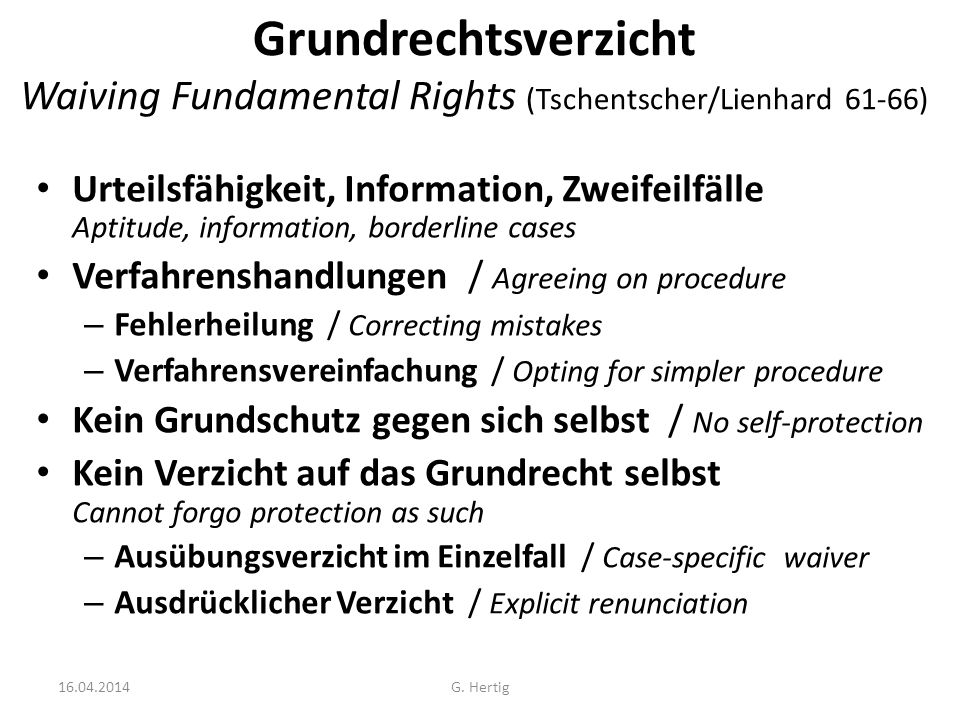 Grundrechtsverzicht Waiving Fundamental Rights (Tschentscher/Lienhard 61-66)