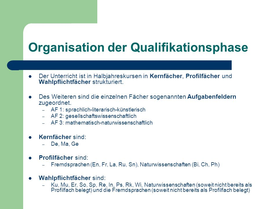Organisation der Qualifikationsphase