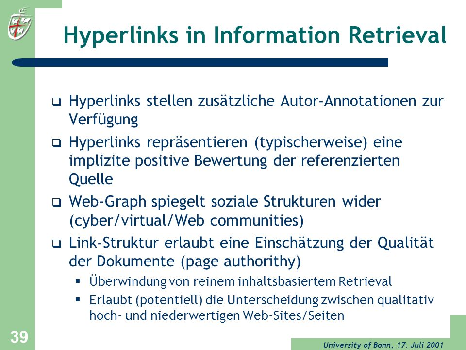 Hyperlinks in Information Retrieval