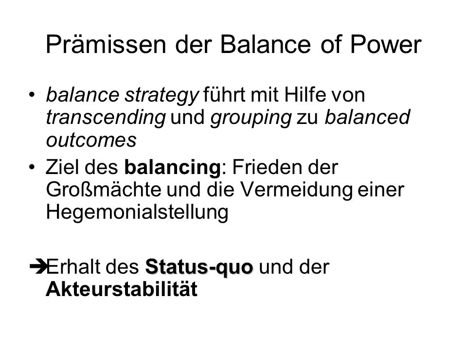 Prämissen der Balance of Power