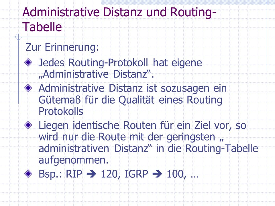 Administrative Distanz und Routing-Tabelle
