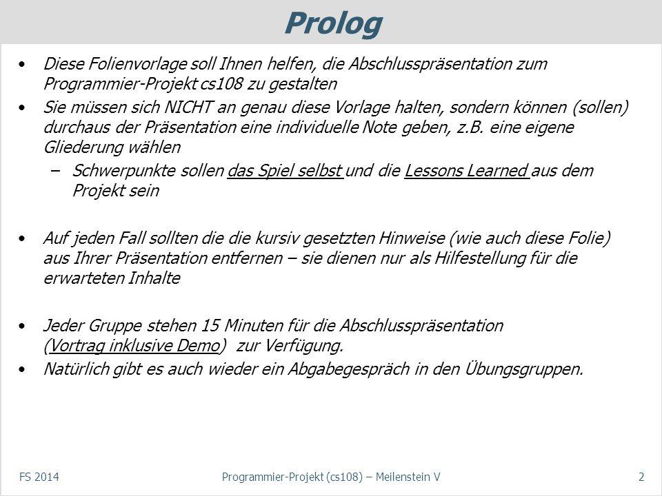 cs108 Programmier-Projekt Präsentation Meilenstein 5 - ppt video ...