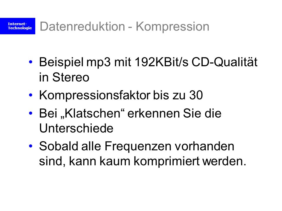 Datenreduktion - Kompression