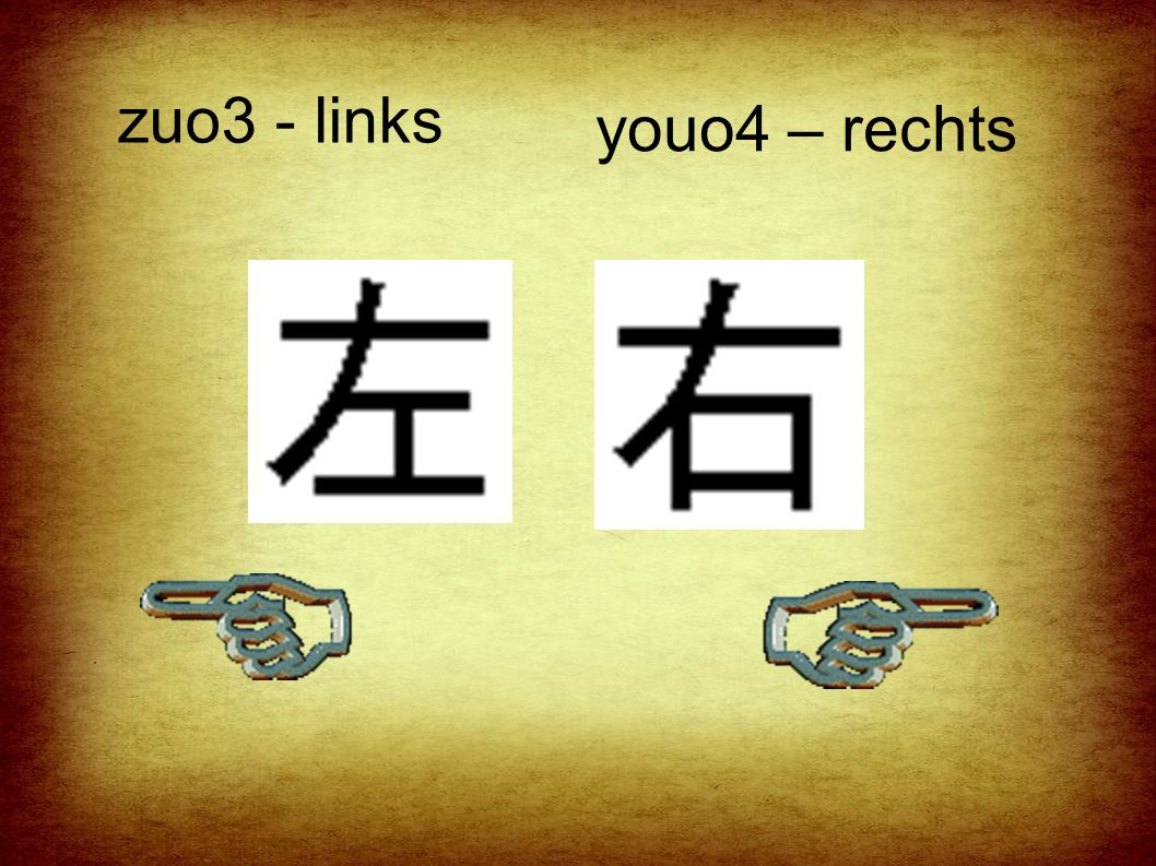 zuo3 - links youo4 – rechts