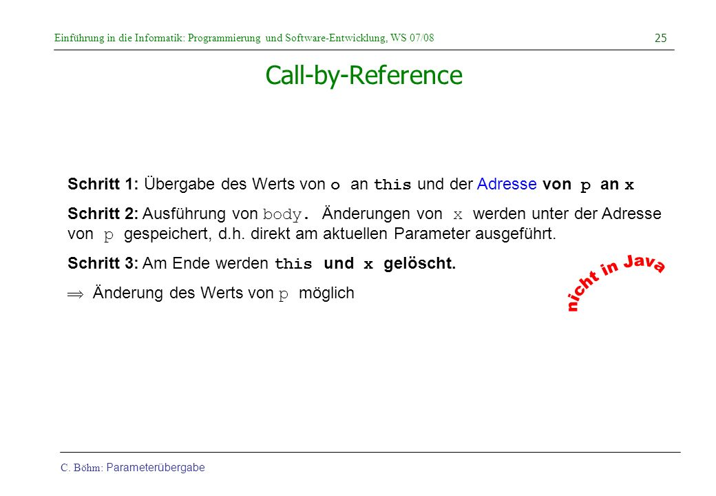 nicht in Java Call-by-Reference