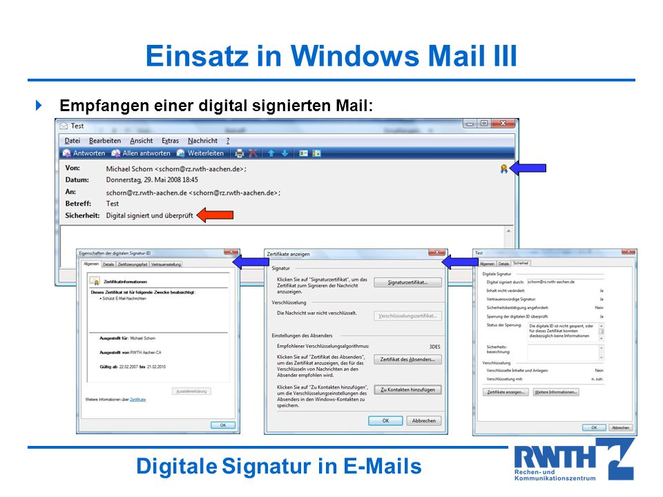 Einsatz in Windows Mail III
