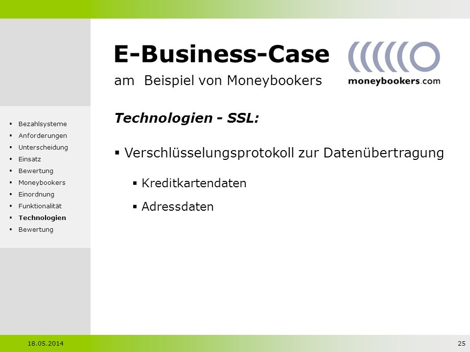E-Business-Case am Beispiel von Moneybookers Technologien - SSL: