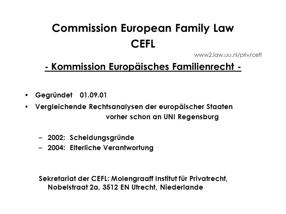 Commission European Family Law CEFL