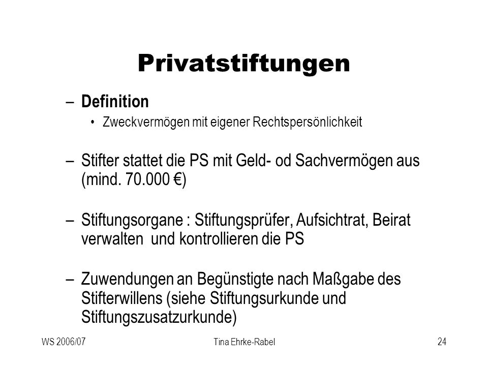 Privatstiftungen Definition