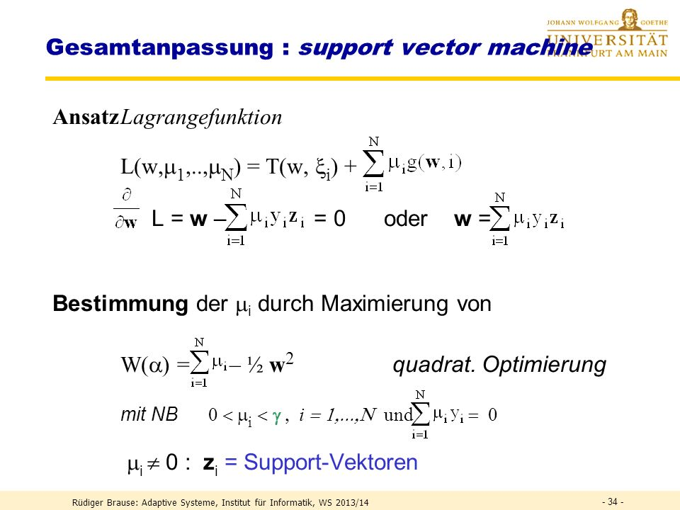 Gesamtanpassung : support vector machine