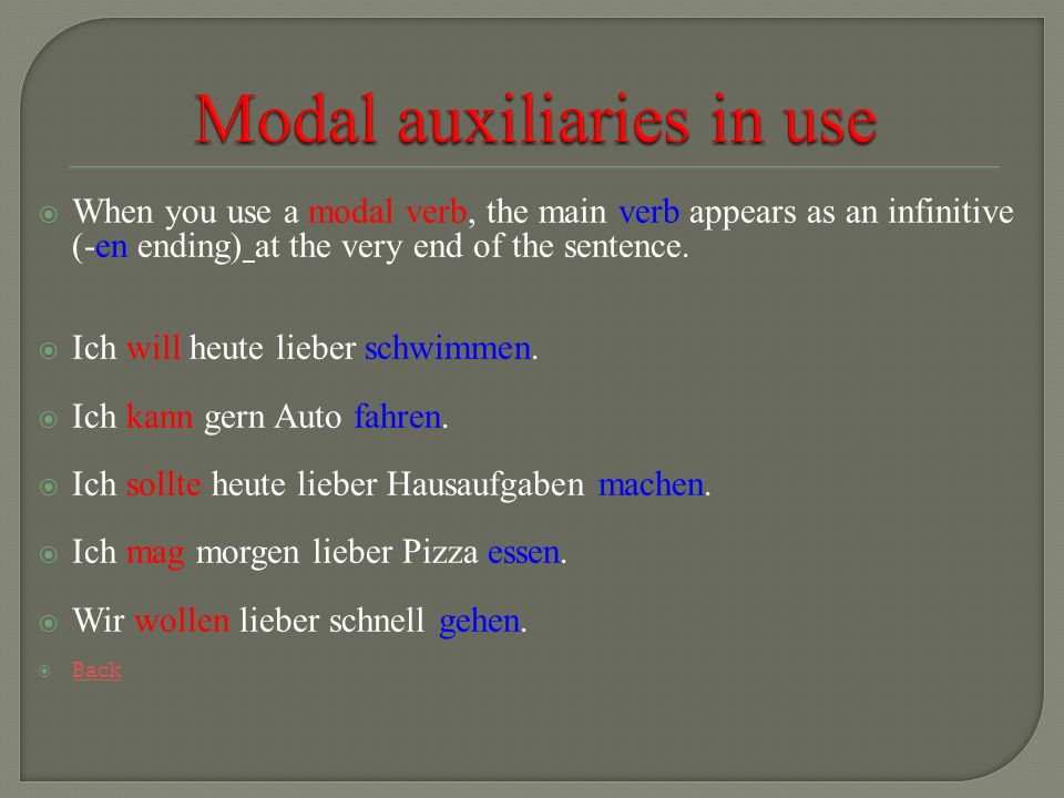 Modal auxiliaries in use